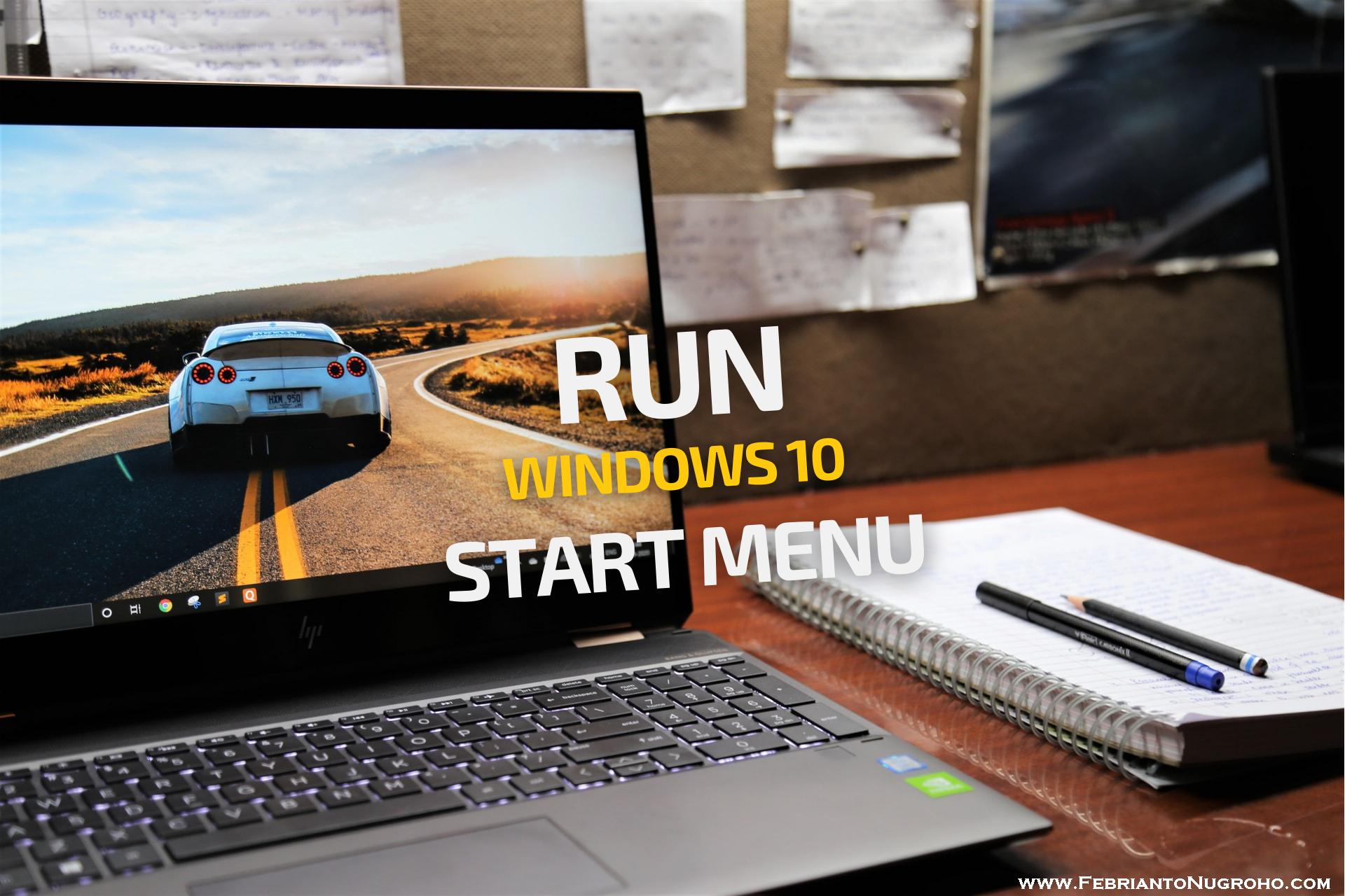 Membuka Utilitas Run di Windows 10 via Start Menu